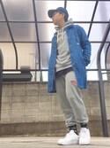 おまめBOYさんの「オリジナルス 靴下[THIN CREW SOCKS](adidas|アディダス)」を使ったコーディネート