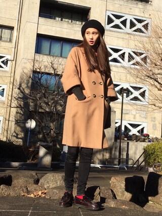 「Melton Beaver coat(BLACK BY MOUSSY)」 using this 秦まり子 looks