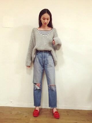 「Demi-Luxe BEAMS / K10 フープピアス 5cm(Demi-Luxe BEAMS)」 using this 秦まり子 looks