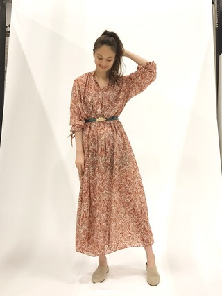 「<6(ROKU)>PAISLEY LONG ONE PIECE 2/ワンピース(BEAUTY&YOUTH UNITED ARROWS)」 using this 秦まり子 looks