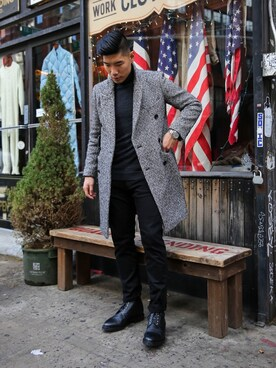 「Thom Browne Pebbled-Leather Brogue Boots(THOM BROWNE)」 using this Levitate Style looks