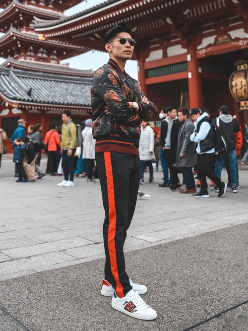 "Levitate Style is wearing Gucci ""Gucci Ace Embroidered Ayers And Canvas-Trimmed Leather Sneakers"""