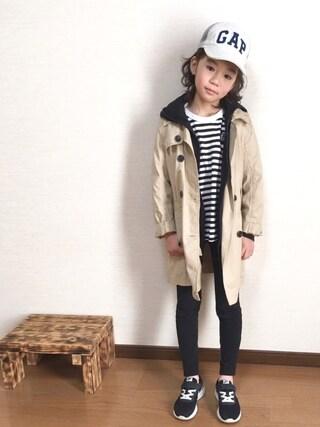 nati+genさんの「【coen kids】【MBC】ボーダーカットソー(100~150cm)(coen コーエン)」を使ったコーディネート