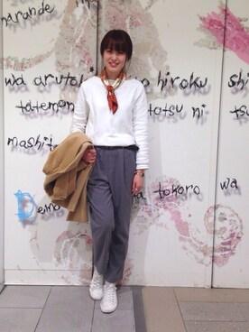 coen東京スカイツリータウン・ソラマチ店|しょうじ  お姉さんさんの「オーナメントスカーフ(coen|コーエン)」を使ったコーディネート