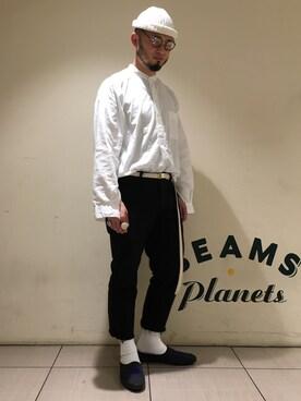 BEAMS MEN|Yoshihito Hayashiさんのシャツ/ブラウス「BEAMS PLUS / コットンボイル バンドカラーシャツ(BEAMS PLUS|ビームスプラス)」を使ったコーディネート