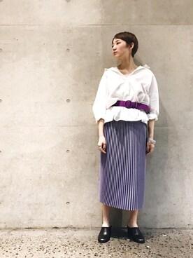 ADAM ET ROPE' ルクア大阪|riho yamaguchiさんの「バックオープンカラーシャツ(ADAM ET ROPE')」を使ったコーディネート