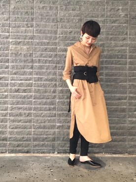 ADAM ET ROPE' FEMME ルクア大阪|riho yamaguchiさんの「マキシシャツワンピース(ADAM ET ROPE')」を使ったコーディネート