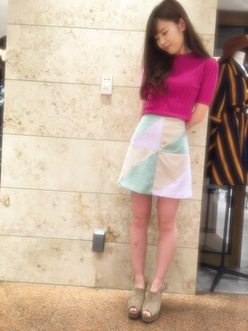 miho♡さんの「レトロトライアングルカラースカート◆(REDYAZEL)」を使ったコーディネート