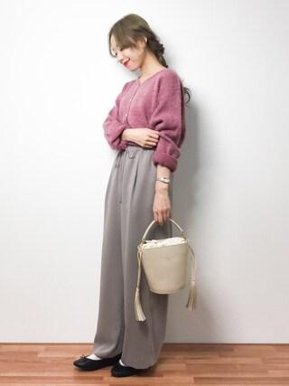 ZOZOTOWN りっぴーさんの「シャギーパール釦カーデ(natural couture ナチュラルクチュール)」を使ったコーディネート