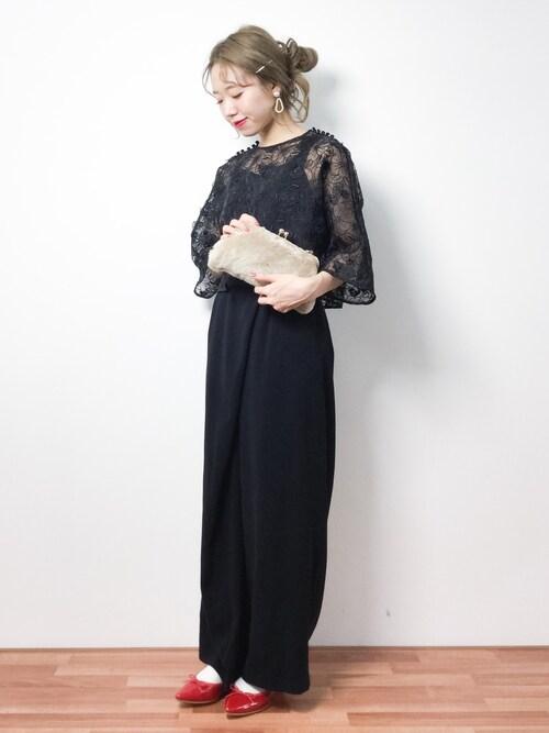 2:1の法則 ブラックのパンツドレス参考コーディネート9