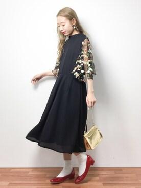 ZOZOTOWN|りっぴーさんの「花刺繍レーススリーブワンピース5949(merlot plus)」を使ったコーディネート