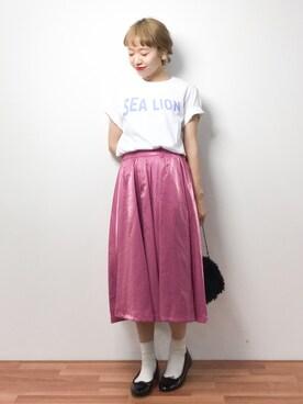 ZOZOTOWN|りっぴーさんの「カラータックギャザースカート(MIIA|ミーア)」を使ったコーディネート