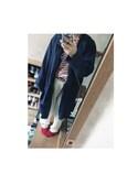 ユミさんの「綿ボーダーワイドT【niko and ...】(niko and... ニコアンド)」を使ったコーディネート
