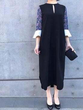 THE DRESS|THEDRESSさんの「mame(マメ)  チュールエンブロイダードIラインドレス(mame)」を使ったコーディネート