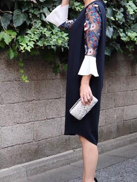 THE DRESS|THEDRESSさんの「mame(マメ)  ボタニカルレーススリーブIラインドレス(mame)」を使ったコーディネート