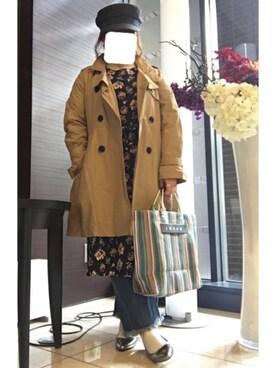 まんたろうさんの「<スザンヌさんコラボ>ラブ&ピースプロジェクト フレアースリーブ花柄ワンピース(haco!|ハコ)」を使ったコーディネート