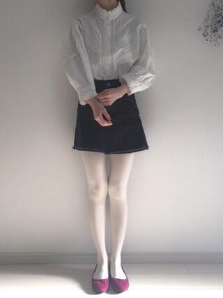 工藤春佳さんの「靴下屋/ 60デニールタイツ M~Lサイズ(靴下屋|クツシタヤ)」を使ったコーディネート