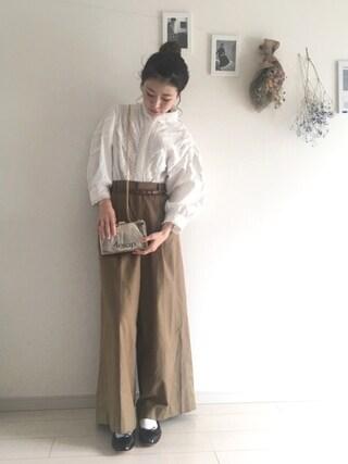 工藤春佳さんの「KBF ワイドワイドパンツ(KBF|ケイビーエフ)」を使ったコーディネート