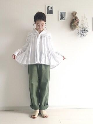 工藤春佳さんの「Vintageカーゴパンツ(TODAYFUL|トゥデイフル)」を使ったコーディネート