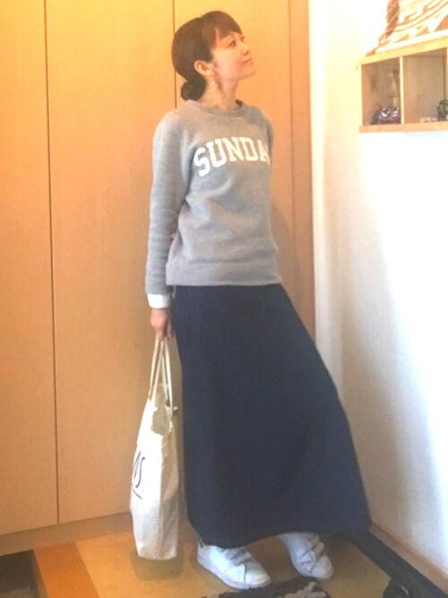 yuriyuriさんの「袖口カフス付きプリントトレーナー(Mila Owen)」を使ったコーディネート