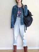 RimAさんの「デニムジャケット ヴィンテージウォッシュ01(KURO|クロ)」を使ったコーディネート