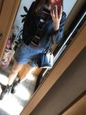 s a k iさんの「(ブーツ) 3.5cmヒールサイドゴアショートブーツ 【大きいサイズ】【小さいサイズ】(夢展望|ユメテンボウ)」を使ったコーディネート
