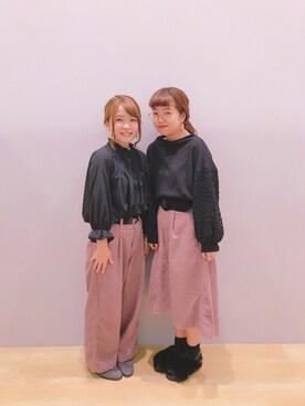 saki mayumiさんの「・袖レースプルオーバー(earth music&ecology)」を使ったコーディネート