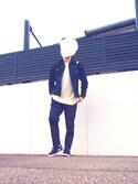 HYさんの「MEN ジョガーパンツ(ジャージー・レングス69~73cm)(ユニクロ|ユニクロ)」を使ったコーディネート