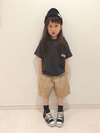 kii_memeさんの「パイルビック半袖Tシャツ(BRANSHES|ブランシェス)」を使ったコーディネート