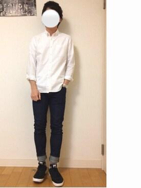 kazuさんの「【ベターコットン使用】OXシャツ長袖/565301(RAGEBLUE|レイジブルー)」を使ったコーディネート