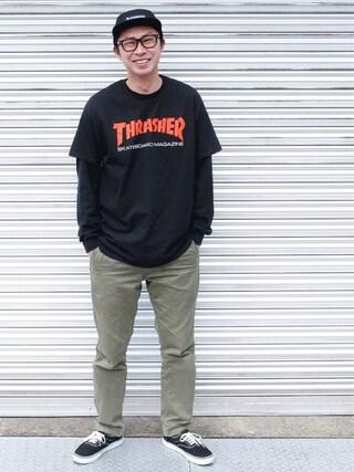 tatsuya さんの「THRASHER / 2Tone SK8 Magazine T-Shirt(THRASHER スラッシャー)」を使ったコーディネート