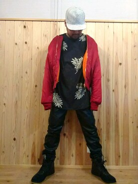 あきーむ  ❎さんの「Balmain Stretch-leather skinny pants(BALMAIN|バルマン)」を使ったコーディネート