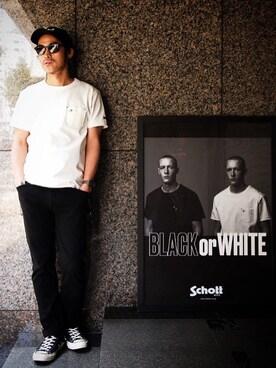 Schott South|ishizawaさんのTシャツ/カットソー「Schott/ショット/DEER POCKET TSHIRTS ONE STAR/ディアポケット Tシャツ ワンスター(schott|ショット)」を使ったコーディネート