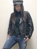 miyuu.さんの「フェイクレザーライダースジャケット【niko and ...】(niko and...|ザラ)」を使ったコーディネート
