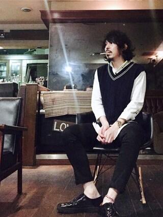 MasaakiOoueさんの「T/R 7分袖ストレッチボタンダウンシャツ(MONO-MART|モノマート)」を使ったコーディネート