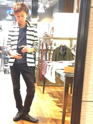 Daisuke Morimotoさんの「スタンドカラーカーディガン風ジャケット(NICOLE CLUB FOR MEN|ニコルクラブフォーメン)」を使ったコーディネート