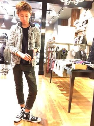 Daisuke Morimotoさんの「スラブ素材ジャケット&パーカー(HIDEAWAYS NICOLE|ハイダウェイ ニコル)」を使ったコーディネート