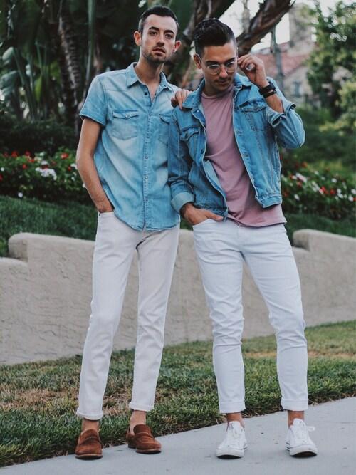 「Vintage Light Blue Denim Trucker Jacket(Calvin Klein)」 using this Alex & Mike looks