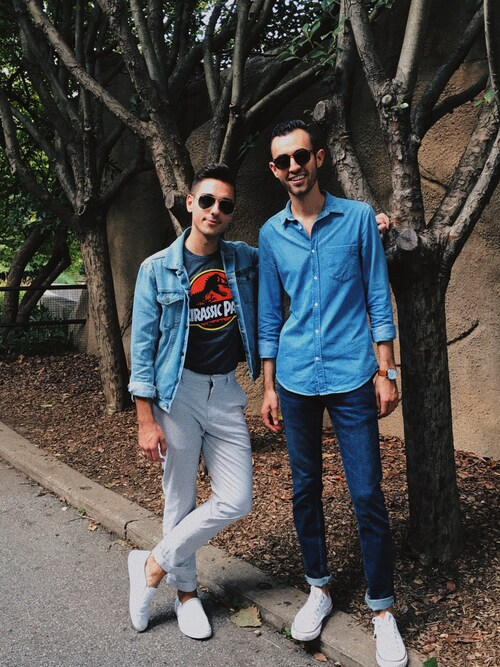 「Vintage Light Blue Denim Trucker Jacket(Calvin Klein)」 using this Alex & Mike looks