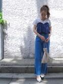 Kana Umekage(梅景 佳菜)さんの「メロウパフスリーブプルオーバー(who's who Chico)」を使ったコーディネート