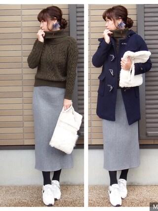 miho🅰ニコさんの「ワイドリブペンシルスカート【niko and...】(niko and...|ニコアンド)」を使ったコーディネート