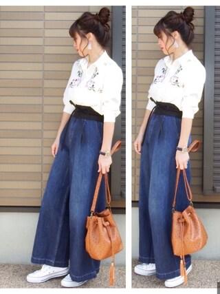 「花柄刺繍ブロードシャツ(GRL)」 using this miho🅰ニコ looks