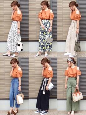 miho🅰ニコさんの「リングオフショルトップス(FEMIND TOKYO フェマイントウキョウ)」を使ったコーディネート