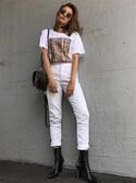 Annaさんの「Alexander Wang - ロゴプリントtシャツ - women - コットン - XS(Alexander Wang|アレキサンダーワン)」を使ったコーディネート