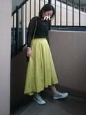 maimyさんの「【andGIRL4月号掲載】イレギュラーヘムタックフレアスカート(titivate|ティティベイト)」を使ったコーディネート