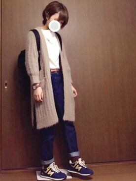 「WOMEN ダブルフェイスプルオーバー(7分袖)(ユニクロ)」 using this y  u  i looks