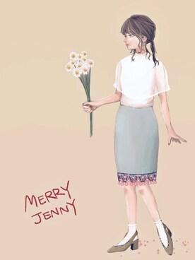 オヒナさんの「お花ペンシルスカート(merry jenny|メリージェニー)」を使ったコーディネート