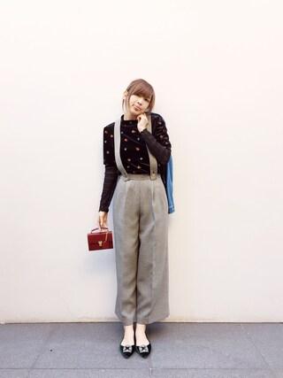 「フラワー刺繍トップス(Lily Brown)」 using this 紗栄子 looks