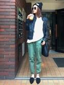 yuki06さんの「WOMEN コットンストレッチジョガーパンツ(ユニクロ|ユニクロ)」を使ったコーディネート