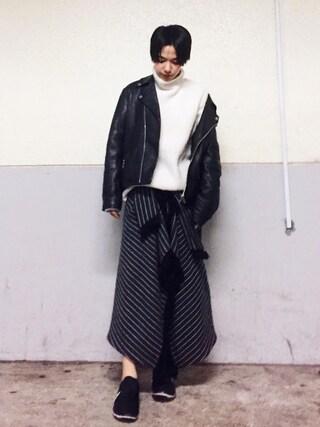 Unaさんの「ストライプロングスカート(TODAYFUL|トゥデイフル)」を使ったコーディネート